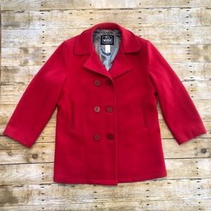 Woolrich Red 100% Virgin Wool Fully Lined Peacoat